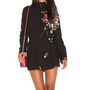 Free people Gemma tunic dress in black floral